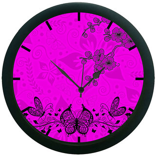 AE World Floral Butterfly Wall Clock (With Glass)