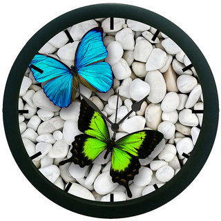 AE World Colourful Butterfly Wall Clock (With Glass)