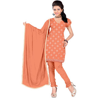 Lovely Look Peach Embroidered Un-Stitched Chudidar Suit