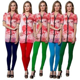 Both11 Multi Color Cotton Lycra Casual Legging (Set Of 5) (B11-FV-4-5-6-7-12)
