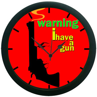 AE World Red Gun Wall Clock (With Glass)