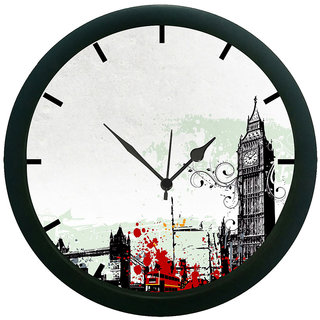 AE World Grey City 3D Wall Clock (With Glass)