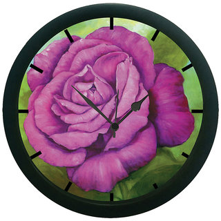 AE World Purple Rose Wall Clock (With Glass)