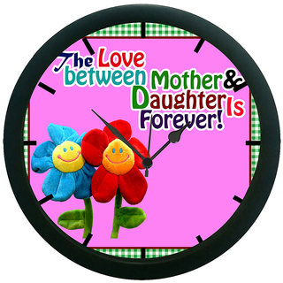 AE World Mother Daughter 3D Wall Clock (With Glass)