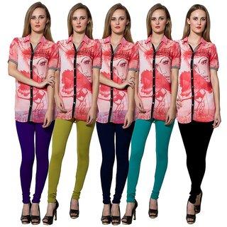 Both11 Multi Color Cotton Lycra Casual Legging (Set Of 5) (B11-FV-15-16-17-18-2)