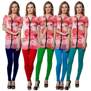 Both11 Multi Color Cotton Lycra Casual Legging (Set Of 5) (B11-FV-4-5-6-7-18)