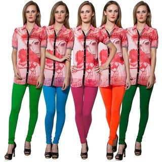 Both11 Multi Color Cotton Lycra Casual Legging (Set Of 5) (B11-FV-6-7-8-9-12)