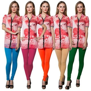 Both11 Multi Color Cotton Lycra Casual Legging (Set Of 5) (B11-FV-7-8-9-10-12)
