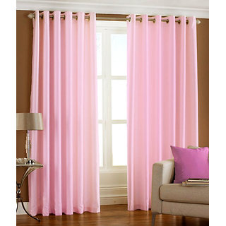 Homefab India Set Of 2 Royal Silky Baby Pink Long Door Curtains