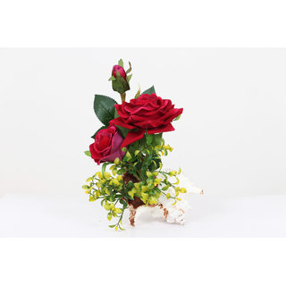 Natural Red Rose Plant In Real Seashell