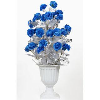 Long Carnation Blue Silver Leaves Pot