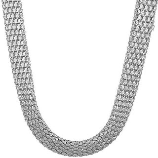 Designer Cocktail Necklace In Silver Tone