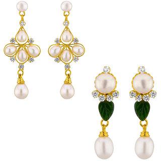 Sri Jagdamba Pearls  Set OF 2 Fresh Water Drop Pearl Earrings