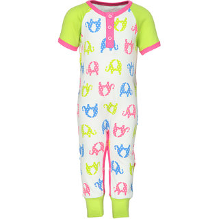 Nino Bambino Green  Pink Organic Cotton Girls Full Romper With All Over Print And Front Placket Opening