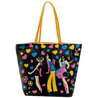 Neska Moda Swachh Bharat Women Black Designer Love Heart Theme Jute Bag Shoulder Bag