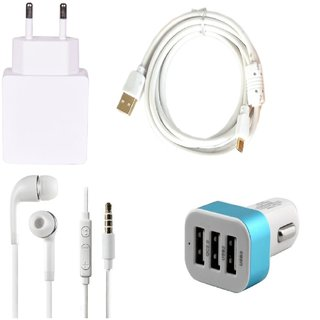 High Quality 1.0 Amp USB Charger+ Fast Charging USB Cable+3.5mm Jack Handsfree+ 3 Jack USB Car Charger Compatible With Lava Iris X9