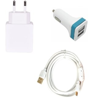 High Quality 2.0 Amp USB Charger+ Fast Charging USB Cable+ 2 Jack USB Car Charger Compatible With Karbonn Titanium Dazzle S214