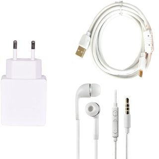 High Quality 1.0 Amp USB Charger+ Fast Charging USB Cable+3.5mm Jack Handsfree Compatible With Lava Iris Atom X