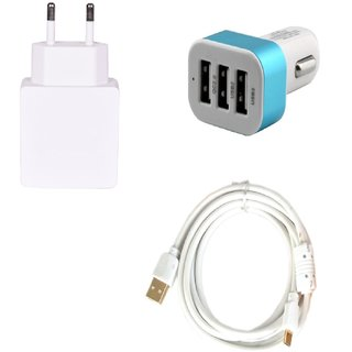 High Quality 2.0 Amp USB Charger+ Fast Charging USB Cable+ 3 Jack USB Car Charger Compatible With Samsung Galaxy S3