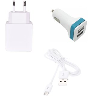 High Quality 1.0 Amp USB Charger+ USB Cable+ 2 Jack USB Car Charger Compatible With iBall Andi 5T Cobalt 2