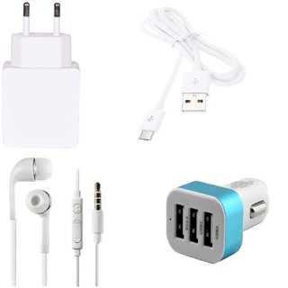 High Quality 1.0 Amp USB Charger+ USB Cable+3.5mm Jack Handsfree+ 3 Jack USB Car Charger Compatible With Karbonn Titanium Moghul