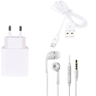 High Quality 1.0 Amp USB Charger+ USB Cable+3.5mm Jack Handsfree Compatible With Lava Iris X5