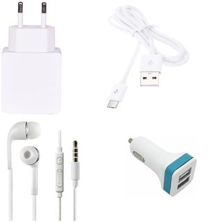 High Quality 2.0 Amp USB Charger+ USB Cable+3.5mm Jack Handsfree+ 2 Jack USB Car Charger Compatible With Spice Xlife 512