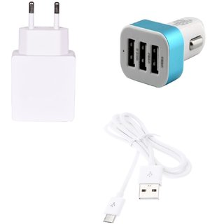 High Quality 2.0 Amp USB Charger+ USB Cable+ 3 Jack USB Car Charger Compatible With Samsung Galaxy S Duos