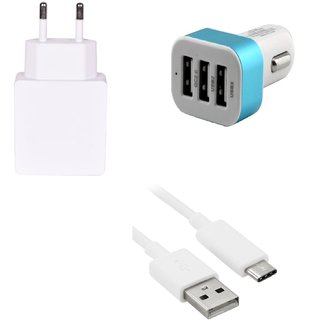 High Quality 2.0 Amp USB Charger+ Type C USB Cable+ 3 Jack USB Car Charger Compatible With LeTV 1S