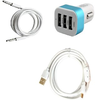 High Quality 5V/2.1 A Tripple (3) Jack USB Car Charger + Fast Charging USB Cable + 3.5mm Aux Compatible withXolo Prime