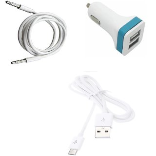 High Quality 5V/2.1 A Dual (2) Jack USB Car Charger + USB Cable + 3.5mm Aux Compatible withHuawei Honor 4X