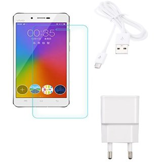 High  QualityTempered Glass + 2.0 Amp USB Charger + USB Cable  Compatible with  Vivo Y51
