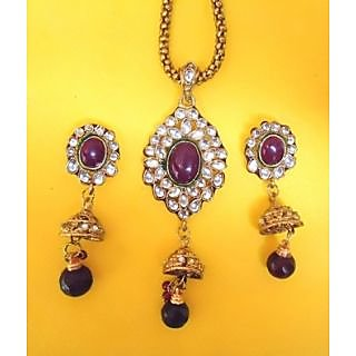 Designer Kundan And Ruby Pendant Set
