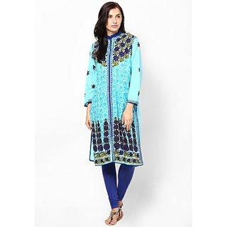 Sukuma Blue Floral Cotton Stitched Kurti