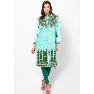 Sukuma Turquoise Floral Cotton Stitched Kurti