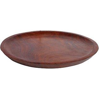 Sai Enterprises Pizza Serving 10 inches Solid Wood Plate