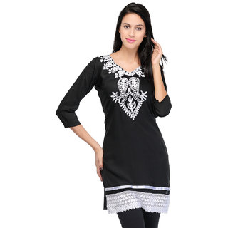 Sukuma Black Embroidered Rayon Straight Kurti