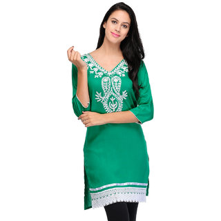 Sukuma Green Embroidered Rayon Stitched Kurti