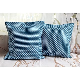 The Home Addiction Geometric Cushions Cover (Pack Of 2, 40 Cm40 Cm, Blue)