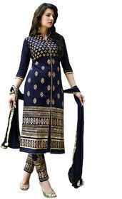 Aashvi Creation Blue Cotton Floral Salwar Suit Material (Unstitched)