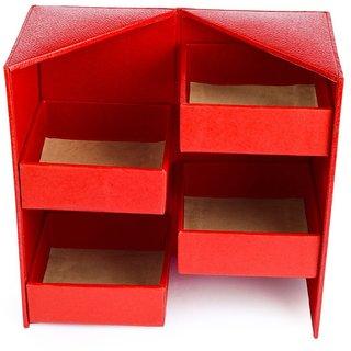 Handcrafted Eco Friendly Almirah Vanity Box, Jewellery Box, Jewellary box ( Red Colour)