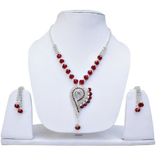 Maroon Crystel Silver Polish Designer Partywear Necklace set