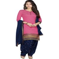Aashvi Creation Blue and Pink Embroidered Polycotton Salwar Suit Material