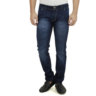 SAVON Mens Slim Fit Blue Denim Jeans For Men With Elegant Red Embroidery