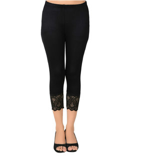 You Forever Solid Black Viscose Short Capri