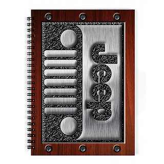 The Fappy Store Embossed-Steel-Jeep-Logo-With-Wood-Background Notebook