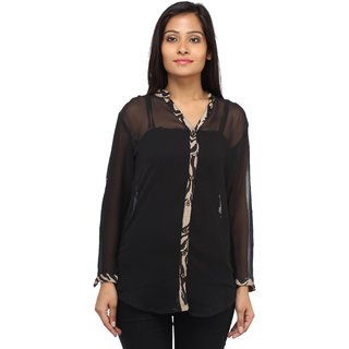 Entease Stylish Black Polyester Plain Casual Top