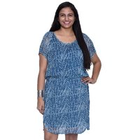 Entease Blue Georgette Printed Casual Dress