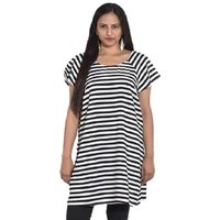 Entease Black,White Polyester Printed Casual Tunic