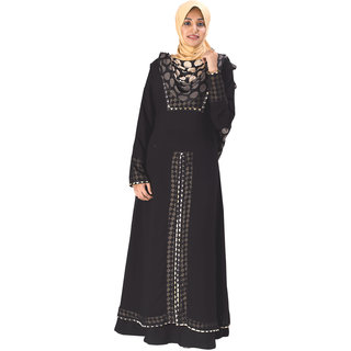 Parvin Georgette Double Layer Front Open Burqa 3122
